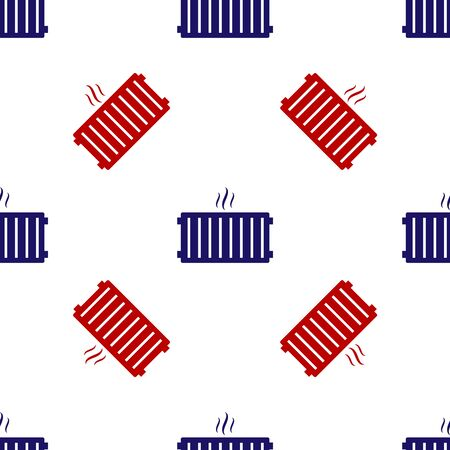 Blue and red Heating radiator icon isolated seamless pattern on white background. Vector Illustration