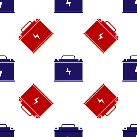 Blue and red Car battery icon isolated seamless pattern on white background. Accumulator battery energy power and electricity accumulator battery. Lightning bolt. Vector Illustration Иллюстрация