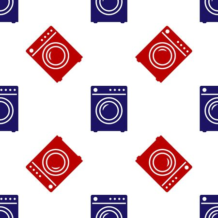 Blue and red Washer icon isolated seamless pattern on white background. Washing machine icon. Clothes washer - laundry machine. Home appliance symbol. Vector Illustration
