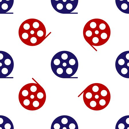 Blue and red Film reel icon isolated seamless pattern on white background. Vector Illustration