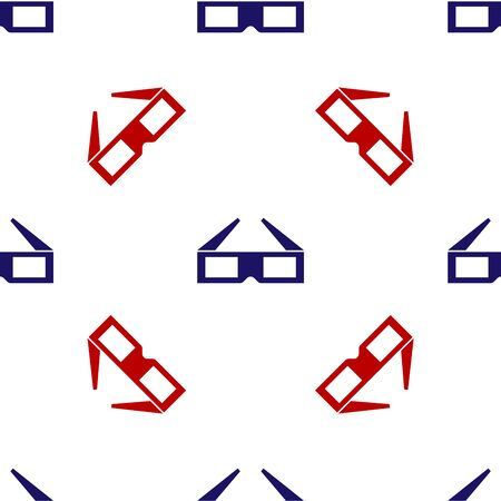 Blue and red 3D cinema glasses icon isolated seamless pattern on white background. Vector Illustration
