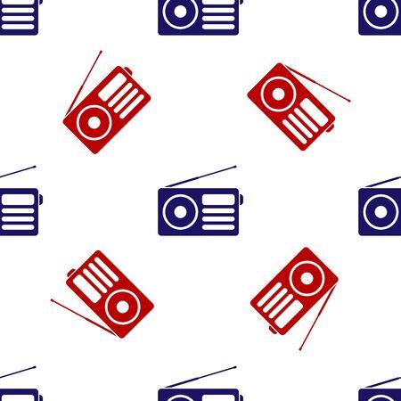 Blue and red Radio with antenna icon isolated seamless pattern on white background. Vector Illustration Vektoros illusztráció