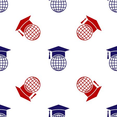 Blue and red Graduation cap on globe icon isolated seamless pattern on white background. World education symbol. Online learning or e-learning concept. Vector Illustration