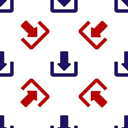 Blue and red Download icon isolated seamless pattern on white background. Upload button. Load symbol. Arrow point to down. Vector Illustration