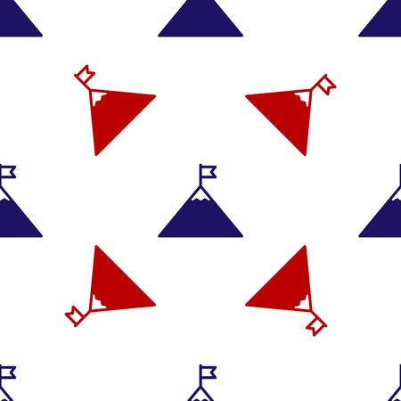 Blue and red Mountains and flag on top icon isolated seamless pattern on white background. Symbol of victory or success concept. Vector Illustration Illustration
