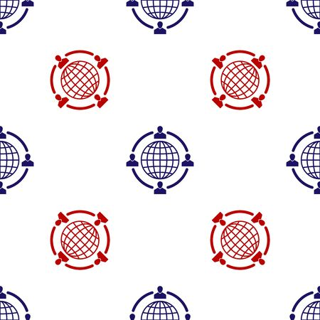 Blue and red Outsourcing concept icon isolated seamless pattern on white background. Cooperation sign. Idea of teamwork and investment. Vector Illustration Illustration
