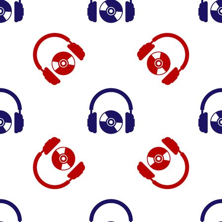 Blue and red Headphones and CD or DVD icon isolated seamless pattern on white background. Earphone sign. Compact disk symbol. Vector Illustration Ilustracja