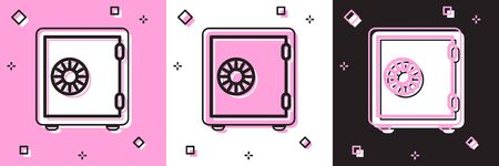 Set Safe icon isolated on pink and white, black background. The door safe a bank vault with a combination lock. Reliable Data Protection. Vector Illustration