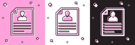Set Resume icon isolated on pink and white, black background. CV application. Searching professional staff. Analyzing personnel resume. Vector Illustration