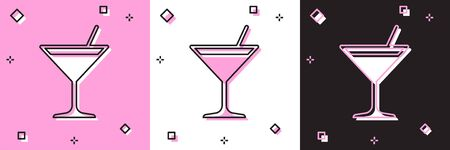 Set Martini glass icon isolated on pink and white, black background. Cocktail icon. Wine glass icon. Vector Illustration
