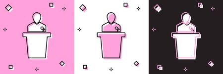 Set Speaker icon isolated on pink and white, black background. Orator speaking from tribune. Public speech. Person on podium. Vector Illustration