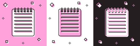Set Notebook icon isolated on pink and white, black background. Spiral notepad icon. Writing pad. Diary for business. Notebook cover design. Vector Illustration Stock Illustratie