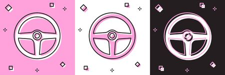 Set Steering wheel icon isolated on pink and white, black background. Car wheel icon. Vector Illustration