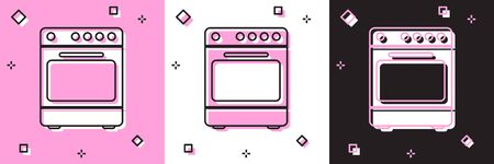 Set Oven icon isolated on pink and white, black background. Stove gas oven sign. Vector Illustration