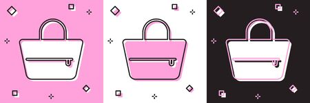 Set Handbag icon isolated on pink and white, black background. Female handbag sign. Glamour casual baggage symbol. Vector Illustration