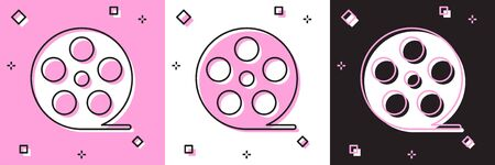 Set Film reel icon isolated on pink and white, black background. Vector Illustration Illustration