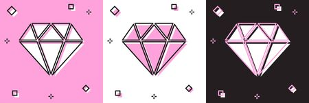 Set Diamond icon isolated on pink and white, black background. Jewelry symbol. Gem stone. Vector Illustration