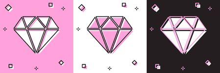 Set Diamond icon isolated on pink and white, black background. Jewelry symbol. Gem stone. Vector Illustration