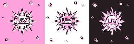 Set UV protection icon isolated on pink and white, black background. Ultra violet rays radiation. SPF sun sign. Vector Illustration Vectores