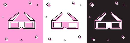 Set 3D cinema glasses icon isolated on pink and white, black background. Vector Illustration