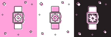Set Smartwatch setting icon isolated on pink and white, black background. Smart watch settings. Vector Illustration