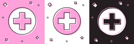 Set Medical cross in circle icon isolated on pink and white, black background. First aid medical symbol. Vector Illustration