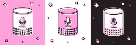 Set Voice assistant icon isolated on pink and white, black background. Voice control user interface smart speaker. Vector Illustration