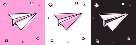 Set Paper plane icon isolated on pink and white, black background. Paper airplane icon. Aircraft sign. Vector Illustration Stock Illustratie
