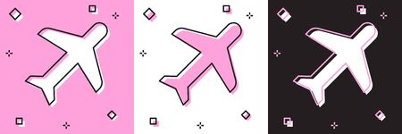 Set Plane icon isolated on pink and white, black background. Flying airplane icon. Airliner sign. Vector Illustration