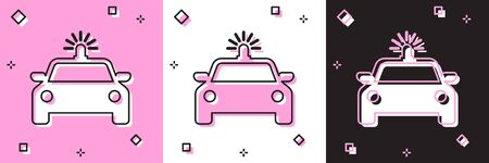 Set Police car and police flasher icon isolated on pink and white, black background. Emergency flashing siren. Vector Illustration Illustration