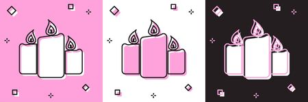 Set Burning candles icon isolated on pink and white, black background. Old fashioned lit candles. Cylindrical aromatic candle sticks with burning flames. Vector Illustration