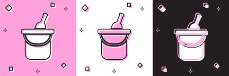 Set Bottle of wine in an ice bucket icon isolated on pink and white, black background. Vector Illustration