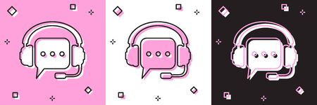 Set Headphones with speech bubble icon isolated on pink and white, black background. Support customer services, hotline, call center, guideline, maintenance. Vector Illustration