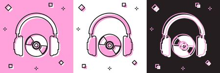 Set Headphones and CD or DVD icon isolated on pink and white, black background. Earphone sign. Compact disk symbol. Vector Illustration