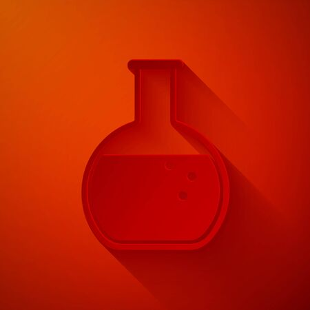 Paper cut Test tube and flask - chemical laboratory test icon isolated on red background. Paper art style. Vector Illustration