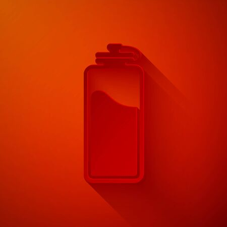 Paper cut Sport bottle with water icon isolated on red background. Paper art style. Vector Illustration