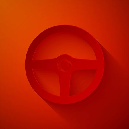 Paper cut Steering wheel icon isolated on red background. Car wheel icon. Paper art style. Vector Illustration