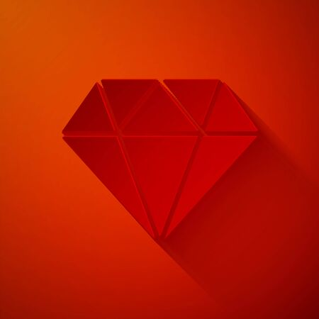Paper cut Diamond icon isolated on red background. Jewelry symbol. Gem stone. Paper art style. Vector Illustration