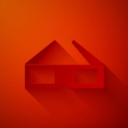 Paper cut 3D cinema glasses icon isolated on red background. Paper art style. Vector Illustration