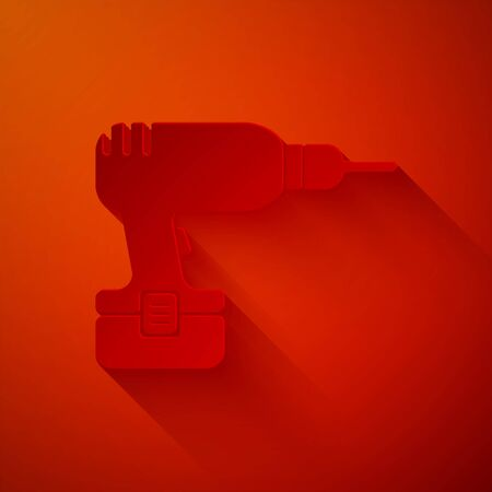 Paper cut Drill machine icon isolated on red background. Paper art style. Vector Illustration Çizim