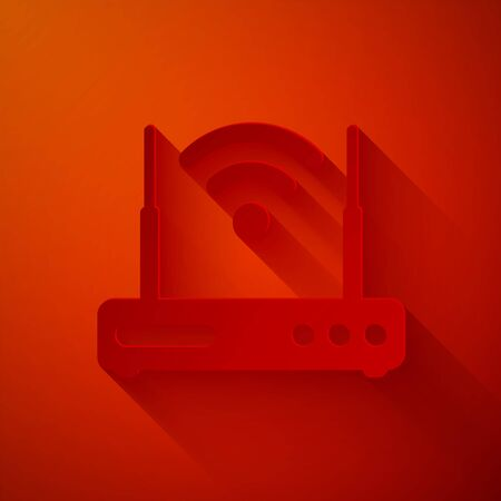 Paper cut Router and wifi signal symbol icon isolated on red background. Ilustracja