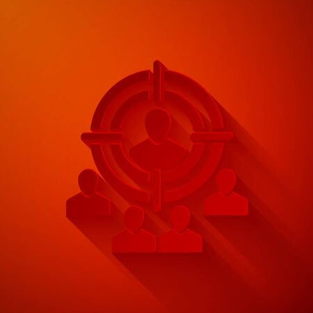 Paper cut Marketing target strategy concept icon isolated on red background. Aim with people sign. Paper art style. Vector Illustration