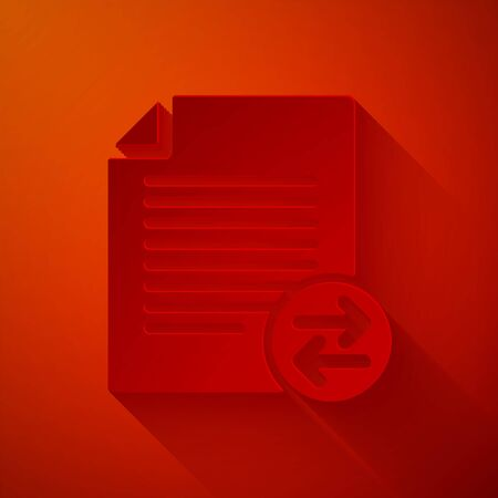 Paper cut Transfer files icon isolated on red background. Copy files, data exchange, backup, PC migration, file sharing concepts. Paper art style. Vector Illustration Vectores