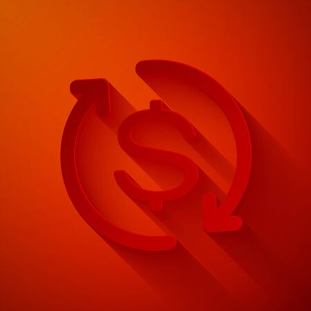 Paper cut Return of investment icon isolated on red background. Money convert icon. Refund sign. Dollar converter concept. Paper art style. Vector Illustration
