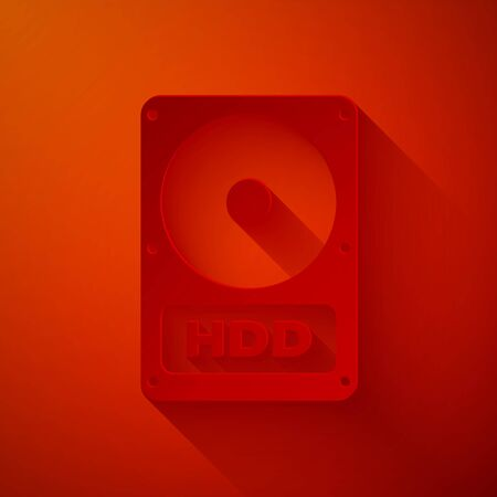 Paper cut Hard disk drive HDD icon isolated on red background. Paper art style. Vector Illustration