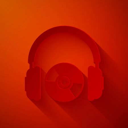 Paper cut Headphones and CD or DVD icon isolated on red background. Earphone sign. Compact disk symbol. Paper art style. Vector Illustration