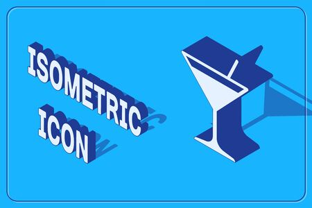 Isometric Martini glass icon isolated on blue background. Cocktail icon. Wine glass icon. Vector Illustration