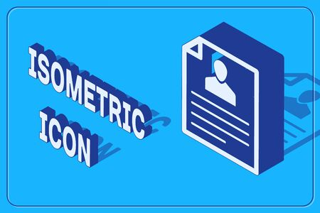 Isometric Resume icon isolated on blue background. CV application. Searching professional staff. Analyzing personnel resume. Vector Illustration