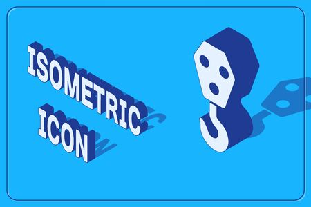 Isometric Industrial hook icon isolated on blue background. Crane hook icon. Vector Illustration