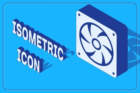 Isometric Computer cooler icon isolated on blue background. PC hardware fan. Vector Illustration Vetores